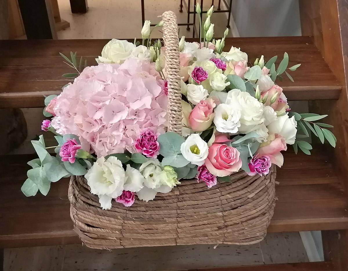 Hochzeit rosa Rosen Blumen Korb