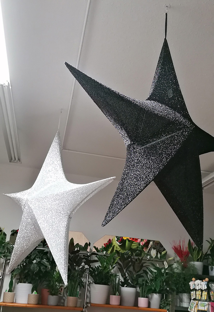 Weihnachtsdekoration grosse Deko Sterne glitzer